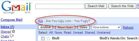 Gmail FUGLY ad