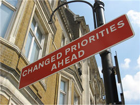 Changed priorites ahead sign