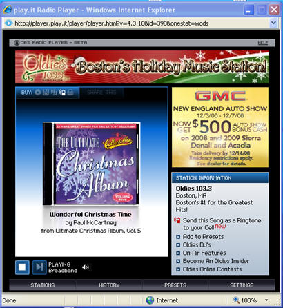 Internet radio window
