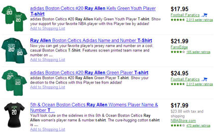 Ray Allen Comparison shopping