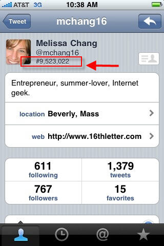 What are the numbers on my profile page in Tweetie 2